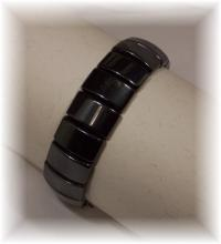 Click For Detail View - African Style Magnetic Hematite Bracelet with Pillow Shaped Hematite Beads - REVERSIBLE - One Size Fits All