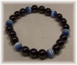 Click For Detail View - Magnetic Hematite Bracelet with 6 coloured Cat Eye Beads - image shows Blue Cat Eye Beads - Available with Blue, Pink or Yellow - One Size Fits All
