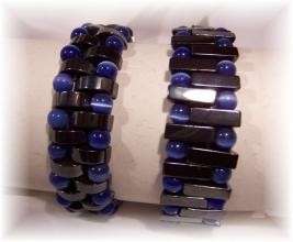 Click For Detail View - Non-Magnetic Reversable Hematite Bracelet with Crescent Moon shaped Hematite beads and Blue 5mm Cat Eye beads - Bracelet is Reversed for a totally different look - One Size Fits All