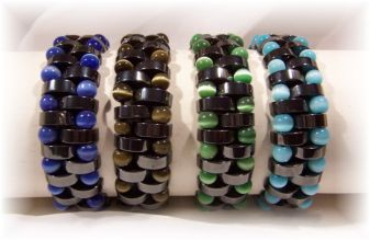Click For Detail View - Non-Magnetic Reversable Hematite Bracelets with Crescent Moon shaped Hematite beads and Blue, Green, Brown or Blue Cat Eye beads - One Size Fits All - Reversible for a totally different look