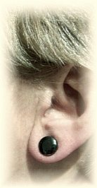 Click For Detail View - Healing Magnetic Hematite Ear Magnets Studs - One Size Fits All - EXAMPLE HOW TO WEAR