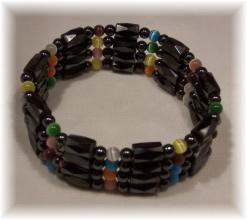 Click For Detail View - Magnetic Hematite Bracelet with Faceted Tube and Round Hematite Beads with 9 colourful Cat Eye Beads - Magnetic Hematite Bracelet-Mix n Match Example - One Size Fits All