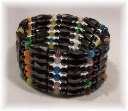 Click For Detail View - Magnetic Hematite Bracelet with Faceted Tube and Round Hematite Beads with 9 colourful Cat Eye Beads - Magnetic Hematite Bracelet-Mix n Match Example - One Size Fits All - Click for More MAGNETIC HEMATITE JEWELLERY