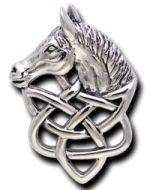 Solid Sterling Silver Celtic Horse Pendant - Click for detail VIEW