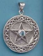 Sterling Silver Celtic Knot Circle Pentacle with Blue Topaz faceted stone