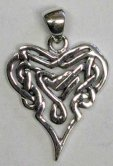 Solid Sterling Silver Celtic Tribal Heart - Pierced - Click for detail VIEW