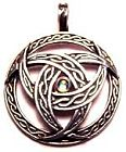 Jewel Celtic Weave Triple Crescent Moon Pendant - with glowing crystal in centre - Pewter