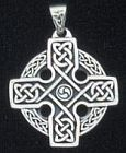Sterling Silver Circular Celtic Cross pendant - Click for detail VIEW