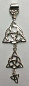 Solid Sterling Silver Triquetra Three Charm Pendant - Click for detail VIEW