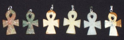 Polished Stone Ankh Pendants - Click for Detail View