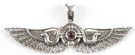Solid Sterling Silver Winged Solar Disc with Amethyst or Garnet Stone - Click for More EGYPTIAN JEWELLERY
