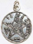 Small Tetragrammaton or Levi Pentacle Pendant- Pewter - Click for detail VIEW
