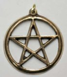Large Pentagram In Circle - Brass - Click for detail VIEW