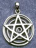 Sterling Silver Life Swirl Pentacle Pendant - doublesided - 3-dimensional - Click for detail VIEW