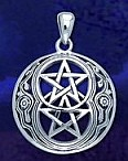 Sterling Silver Chalice Wells Double Pentagrams Pendant - domed shape - Click for detail VIEW
