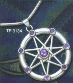 Sterling Silver 7 Pointed Faerie Star in Circle set with 8 faceted Amethyst stones - Click for detail VIEW