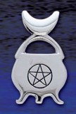 Sterling Silver Cauldron with engraved Pentagram in circle - Click for More SYMBOLIC JEWELLERY