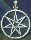 Sterling Silver 7 Pointed Faerie Star in Circle or 'Elven Star' or Septagram - Click for detail VIEW