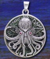 Great Cthulhu Pendant with Ruby Gemstone Eyes - Sterling Silver with green enamel - Click for Detail VIEW