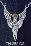 Sterling Silver Winged Isis Pendant with Carnelian Stone and Sterling Silver Chain Necklace - Click for Detail VIEW
