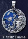 Sterling Silver Lunar Moon Goddess Medallion Pendant with Blue Enamel inlay - Click for Detail VIEW