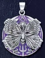 Sterling Silver Psyche Spirit Goddess Medallion Pendant with Purple Enamel inlay - Click for Detail VIEW