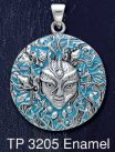 Sterling Silver Mari Sea Goddess Medallion Pendant with Aqua Blue Enamel inlay - Click for Detail VIEW