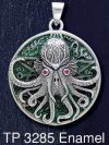 Sterling Silver Great Cthulhu Medallion Pendant with Ruby Gemstone Eyes and Sea Green Enamel inlay - Click for Detail VIEW