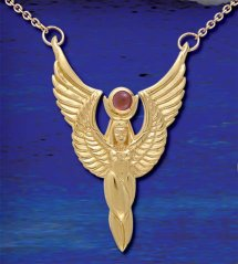 14ct Gold Plate Egyptian Winged Isis with Carnelian Stone on Gold chain - Click for Detail View
