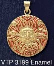 14ct Gold on Sterling Silver Belenos Sun God Medallion Pendant with Red Enamel inlay - Click for Detail VIEW