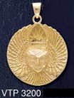14ct Gold on Sterling Silver Ariel Bird Goddess Medallion Pendant - Click for Detail VIEW