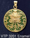 14ct Gold on Sterling Silver Green Man Jack Medallion Pendant with Green Enamel inlay - Click for Detail VIEW