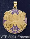 14CT Gold on Sterling Silver Psyche Spirit Goddess Medallion Pendant with Purple Enamel inlay - Click for Detail VIEW