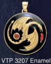 14CT Gold on Sterling Silver Yin Yang Dragon Medallion Pendant with Garnet Gemstone with Red and Black Enamel inlay - Click for Detail VIEW