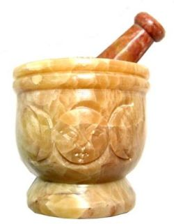 Medium Triple Goddess Stone Carved Mortar and Pestle Set - Click For Detail