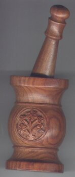 Mortar and Pestle Set - Carved Shesham Wood design - Click For Detail