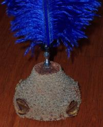 Natural Banksia Nut Pen Stand with Blue Quill - Click for Detail