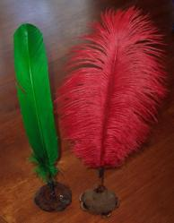 Emerald Green and Cherry Red Quills in Natural Banksia Nut Pen Stand - Click for Detail