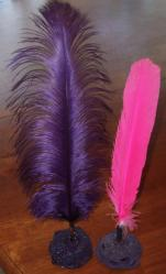 Purple and Hot Pink Quills in Purple Banksia Nut Pen Stand - Click for Detail