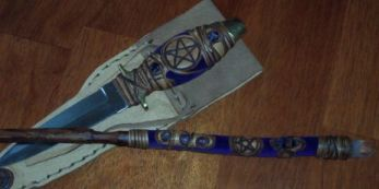 Click For Detail - Athame with matching Willow Wand - Lapis Crystals Theme Example