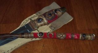 Click For Detail - Athame with matching Willow Wand - Garnet Crystals Theme Example
