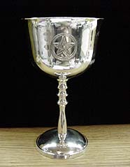 Silver Plated Altar Chalice with etched Pentagram in Circle on back and front and a dome topped fancy stem