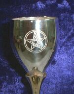 Detail photo of Travellers Altar Chalice with etched Pentagrams - Silver plated with Gold plated Tulip stem