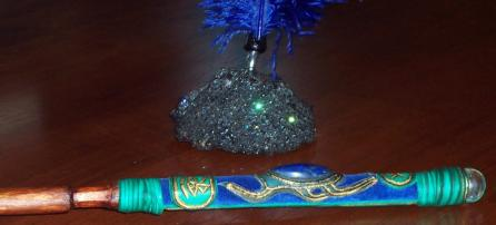 Black Banksia Nut Pen Stand with Egyptian Lapis Lazuli Cabachon Willow Wand (special edition) - Click for Detail