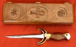 Full view of Boxed Ankh Athame, displayed with matching hand-carved Australian Black Bean wood box - a Handcrafted Ritual Treasure by MasterCraftsman ShadowSmith - click for enlarged view