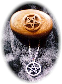 photo - set of Sterling Silver Pentagram in Circle pendant with cabuchon Garnet and matching carved wooden box by ShadowSmith