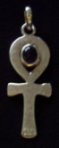 Hammered Finish Sterling Silver Ankh set with Amethyst cabochon stone - click for detail view.