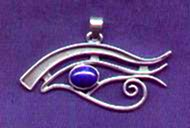photo of silver Eye of Horus pendant with lapis lazuli cabuchon - click for detail view
