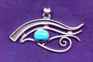 photo of silver Eye of Horus pendant with Turquoise stone cabochon - click for detail view