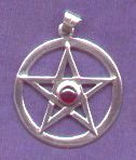 photo of Sterling Silver Pentagram in Circle pendant with cabuchon Garnet by ShadowSmith - click for detail view
